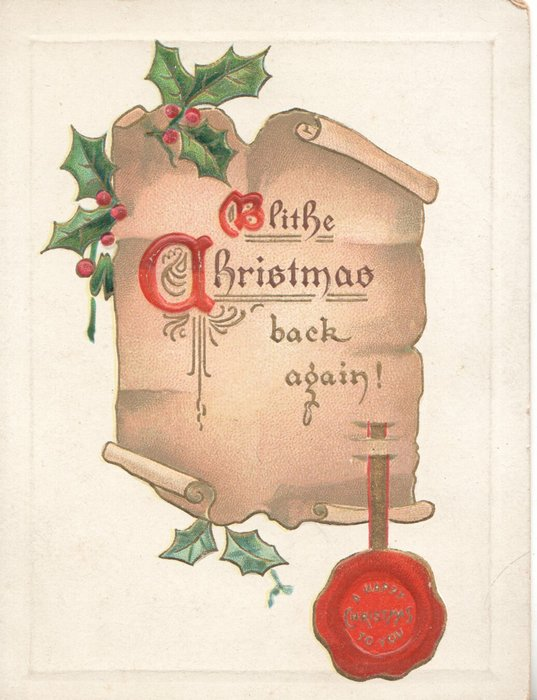 BLITHE CHRISTMAS(B & C In red) on brown plaque with red seal, holly above & below