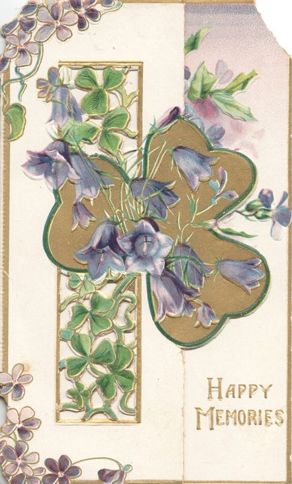 HAPPY MEMORIES in gilt below very complex perforated gilt design with many purple campanulas & gilt bird