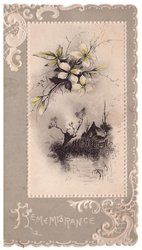 GREETINGS in white below watery summer rural scene in mounted inset on grey card