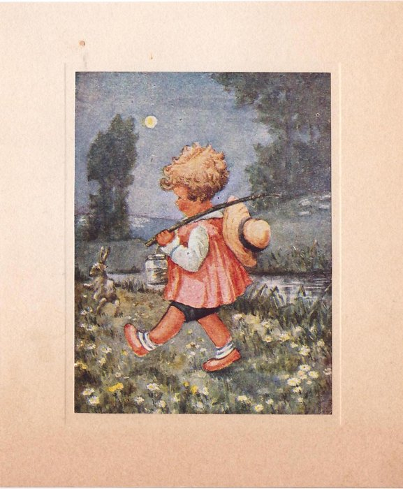 no front title, young child, walks left near stream, holding simple fishing rod and bait jar, hare jumps mid distant view