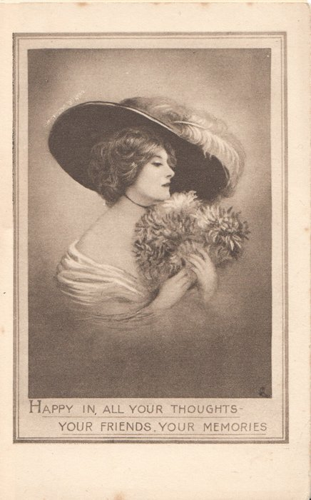 HAPPY IN ALL YOUR THOUGHTS YOUR FRIENDS YOUR MEMORIES in sepia, head & shoulder study woman in furs