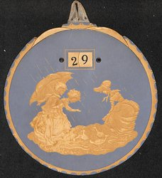 Wedgwood style circular art nouveau image of ladies feeding ducks in the rain