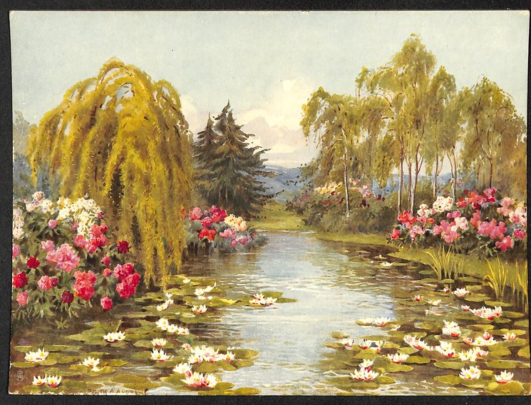 lily pond surrounded by trees and flowering gardens