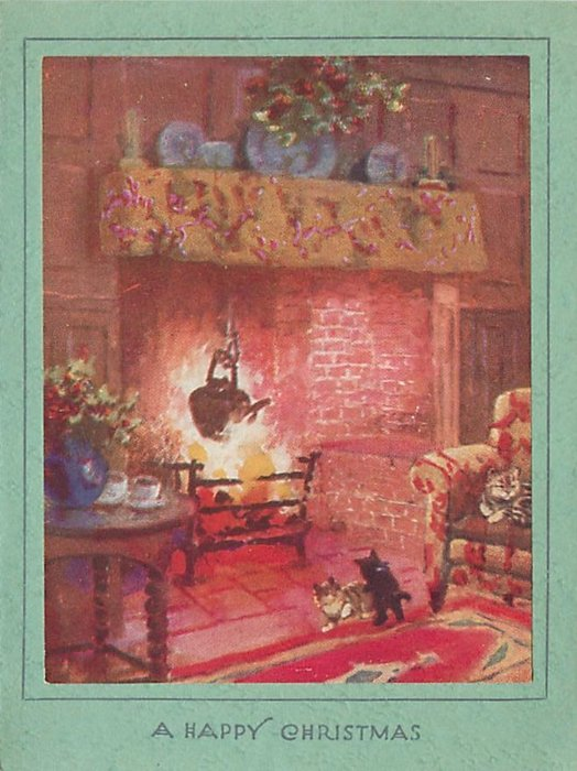 A HAPPY CHRISTMAS 2 kittens play in front of a glowing fireplace, another cat on armchair right