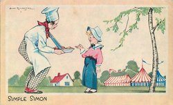SIMPLE SIMON boy gestures to pieman, striped fair tents behind