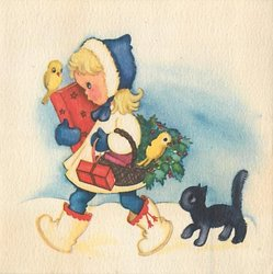 no front title, girl walks left with parcels, basket & yellow birds, black cat follows