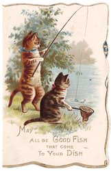 MAY ALL BE GOOD FISH THAT COME TO YOUR DISH 2 cats, one with fishing rod, the other a net