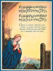 ONCE IN ROYAL DAVID'S CITY ... music notation above Mary & Baby Jesus
