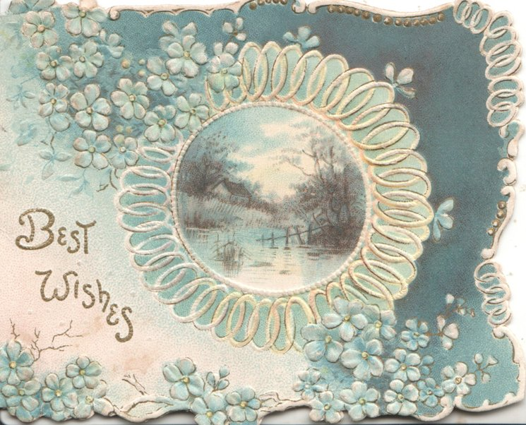 BEST WISHES in gilt below left, circular bordered watery rural inset, forget-me-nots scattered on blue/white background