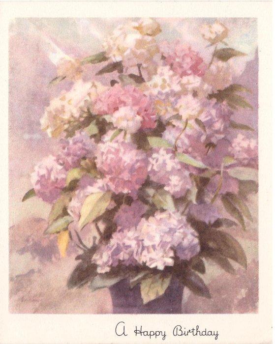 A HAPPY BIRTHDAY  light pink & purple flowers & cream flowers