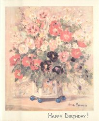 HAPPY BIRTHDAY! pink, red & purple & white flowers in blue footed vase