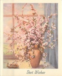 BEST WISHES cherry blossoms in tall, handled, vase