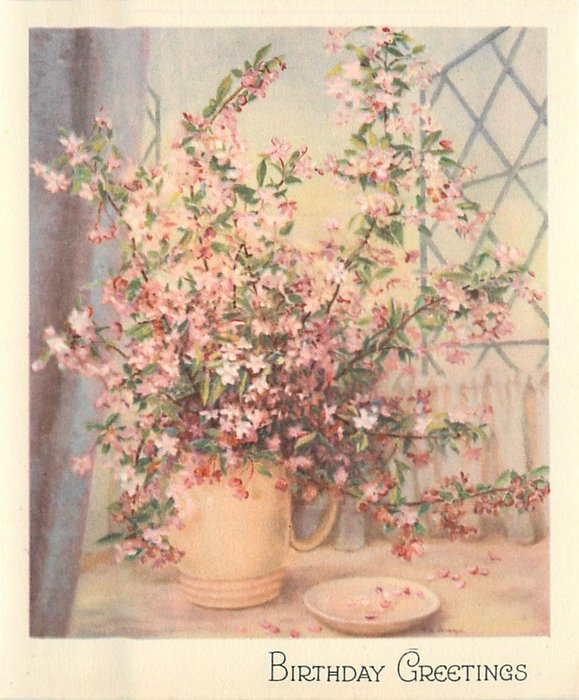 BIRTHDAY GREETINGS pink blossoms in tan vase, dish right