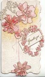 GREETINGS in gilt on white plaque, pink stylised flowers as wreath & on background