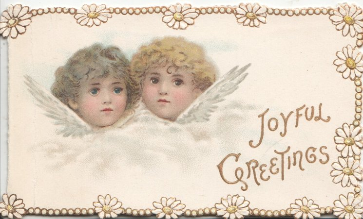 JOYFUL GREETINGS in gilt, two angel children