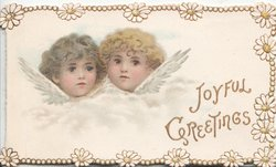 JOYFUL GREETINGS in gilt, two angel children
