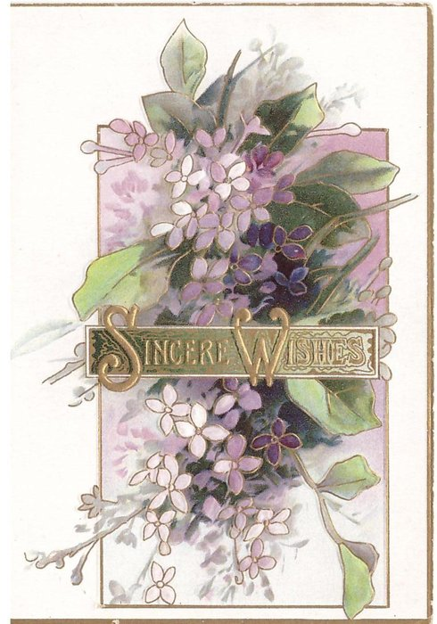 SINCERE WISHES in gilt  on gilt panel above purple lilac