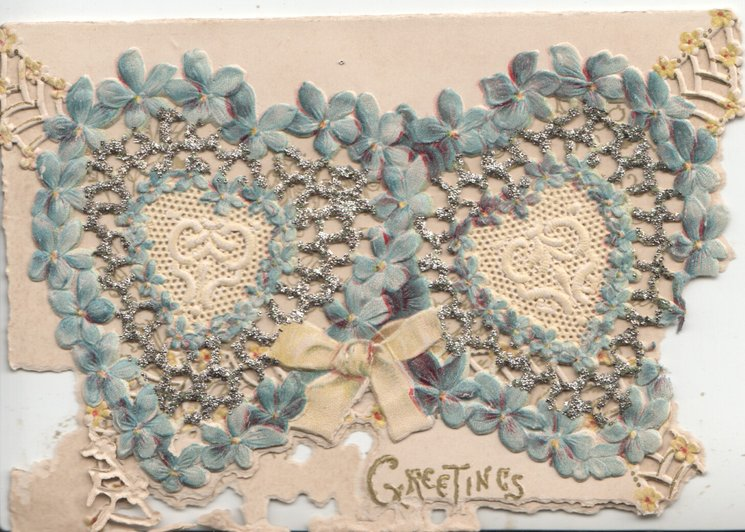 GREETINGS in gilt below on narrow flap, forget-me-nots in glittered perforated design above