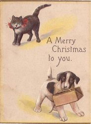 A MERRY CHRISTMAS TO YOU dog holding box, black cat upper left