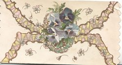 no front title, elaborate yellow design behind blue pansies on top flap