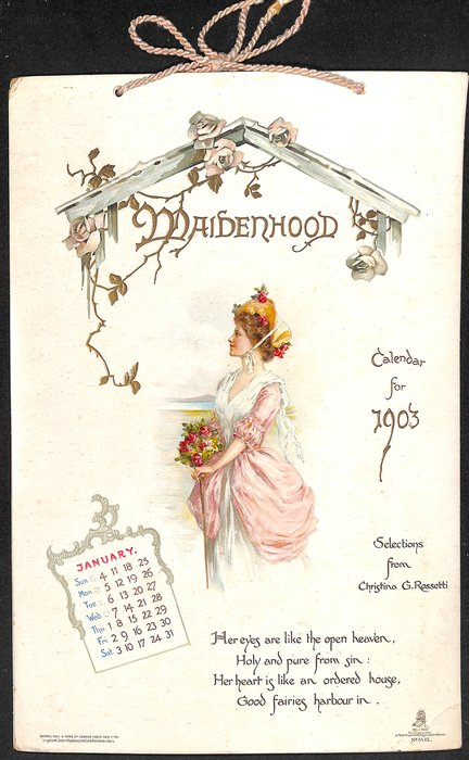 MAIDENHOOD CALENDAR FOR 1903