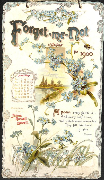 FORGET-ME-NOT CALENDAR FOR 1900