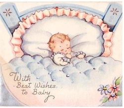 WITH BEST WISHES TO BABY baby sleeps in crib, blue blanket