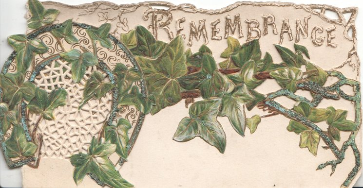 REMEMBRANCE in gilt/white above ivy on front flap & horseshoe, perforated & embossed