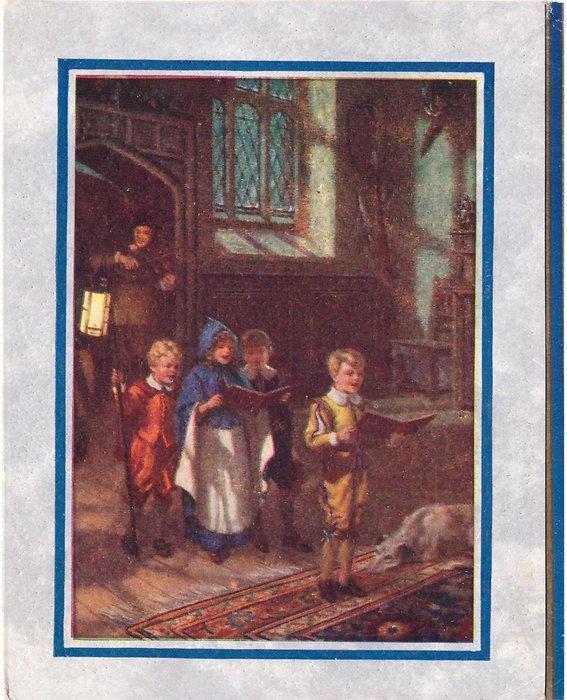 no front title, 4 children sing, dog lies on carpet, man plays fiddle in doorway