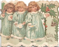 WITH LOVE 3 girls in blue walk right carrying plates, berried holly right