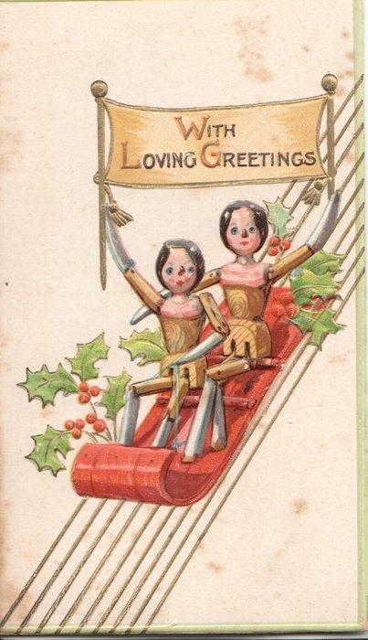 WITH LOVING GREETINGS two dolls sledding