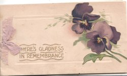 THERE'S GLADNESS IN REMEMBRANCE in gilt left, purple pansies right, mauve bow left