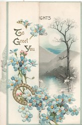 TO GREET YOU in gilt on left flap over forget-me-nots & horse-shoe, watery rural inset visible on back flap