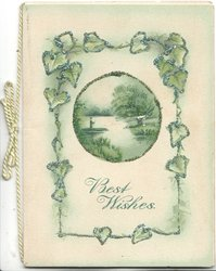 BEST WISHES below circular watery rural inset, surrounded by stylised chain of glittered, ivy leaves pale green background