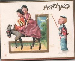 HAPPY DAYS stick mother & child ride donkey left, man stands right