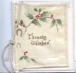 HEARTY WISHES on cetral plaque below stylised holly twig