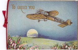 TO GREET YOU in gilt, antique plane flies over field with setting sun, heather front