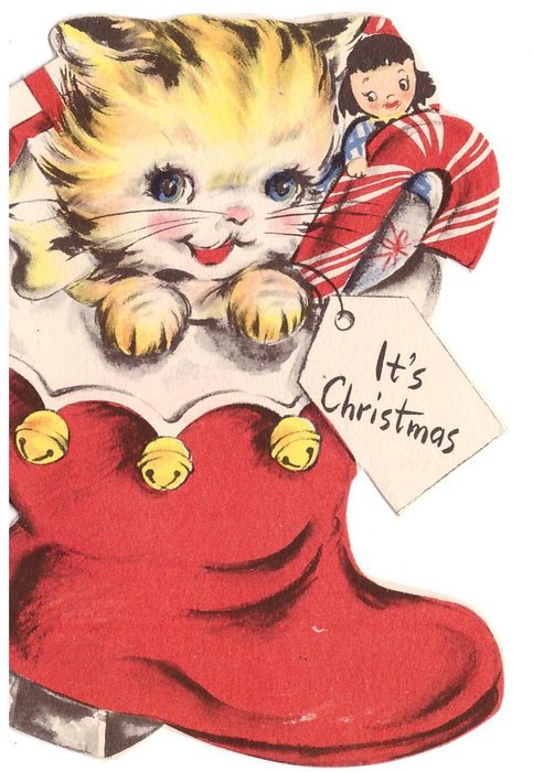 IT'S CHRISTMAS on tag, kitten inside Xmas stocking with doll & candy cane