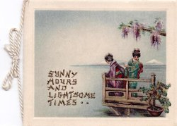 SUNNY HOURS AND LIGHTSOME TIMES two women on stand dock, ocean surrounds, wisteria above, bonsai plant right