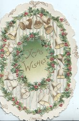 XMAS WISHES in  gilt centrally on pale blue/white background, surrounded by holly & bells on perforated front flap