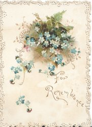 FOR REMEMBRANCE in gilt below right below blue forget-me-nots , ferns behind