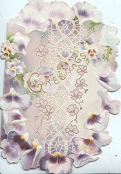 GREETINGS in gilt across front over white design surrounded by many purple & white panses, irregularn edges