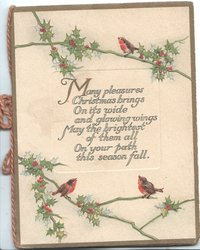 MANY PLEASURES CHRISTMAS BRINGS....3 English robins or blue birds of happiness perched on berried holly