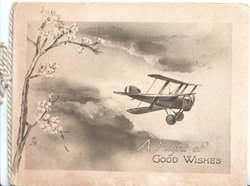 A FLIGHT OF GOOD WISHES antique airplane flies right, clouds & stylised flowers left