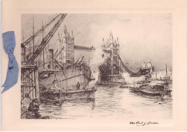 THE POOL OF LONDON tower bridge & boats, black & white ink sketch style
