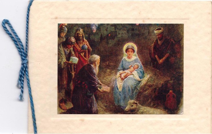 no front title, nativity scene, Mary seated with Baby Jesus, wisemen present gifts