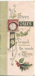 HAPPY HOURS(illuminated) TO MARK THE SANDS OF TIME, clock left, stylised holly around