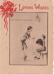 MAY I HAVE THE PLEASURE!  two inset stick people, one sits with fan, LOVING WISHES opt. red top