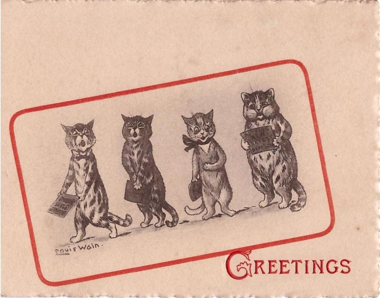 GREETINGS opt. in red, four cats with sheet music, red border