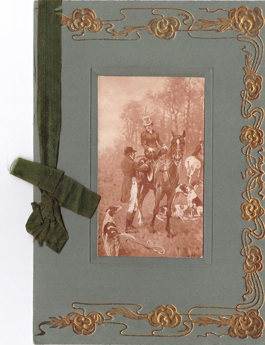 no front title inset sepia fox hunting scene, gilt border, green card stock & ribbon